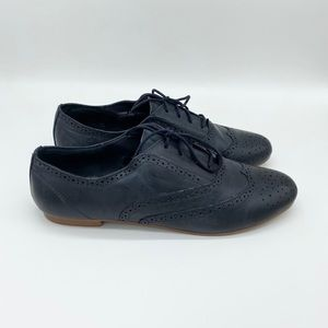 Steve Madden Leather Oxford Shoes Dark Blue 9.5